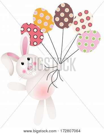 Scalable vectorial image representing a bunny flying with Easter eggs, isolated on white.