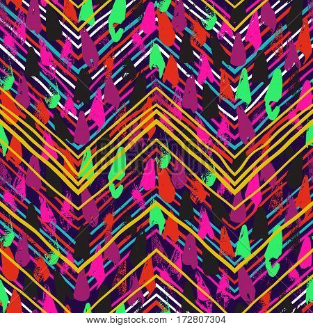 Vector seamless with print colorful stripes and lines, abstract shapes and dots. Ethnic pattern with native and tribal motifs. Woven vintage textile design in aztec style with hand drawn chevrons