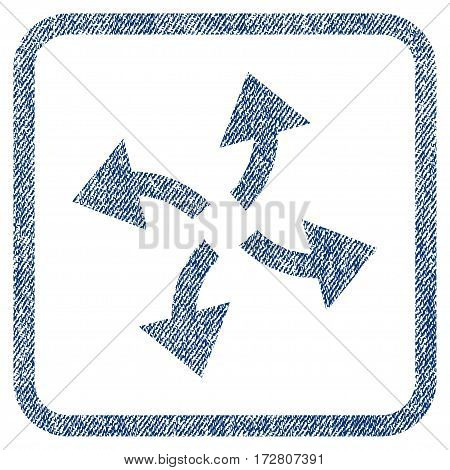 Centrifugal Arrows vector textured icon for overlay watermark stamps. Blue jeans fabric vectorized texture. Symbol with scratched design inside rounded rectangular frame.