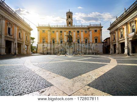 Piazza del Campidoglio on Capitoline Hill , Rome, Italy