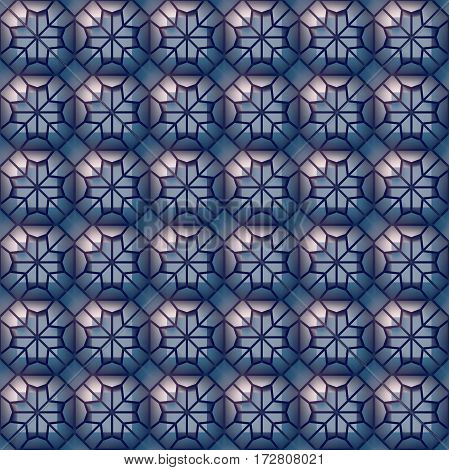Plastic seamless blue abstract mosaic texture surface pattern. 3d rendering