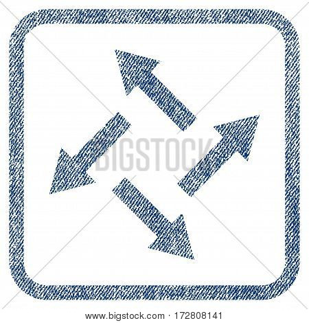 Centrifugal Arrows vector textured icon for overlay watermark stamps. Blue jeans fabric vectorized texture. Symbol with scratched design inside rounded rectangle.