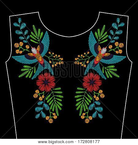 Embroidery with swallow bird, wild flowers for neckline. Vector fashion ornament on black background for textile, fabric traditional folk decoration.