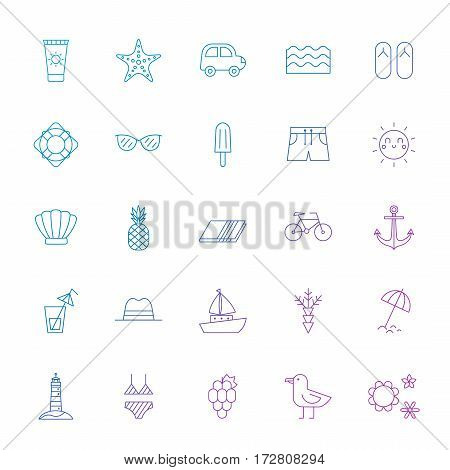 Summer sea and beach blue-purple gradient icon set. Clean and simple outline design.