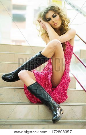 Pretty Girl Wearing Pink Dress And Black Boots