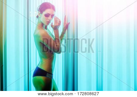 Pretty Naked Woman With Sexy Body In Solarium