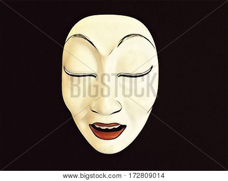 Abstract woman mask digital illustration. Woman face sleepy and relaxed. Indonesian tribal mask for mask theater. Ethnic mask of female character with white face and smile. Vintage wooden mask image