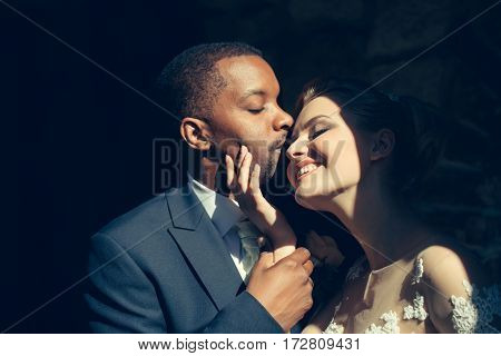 Loving Pretty Girl Or Beautiful Bride Kissing Handsome Man