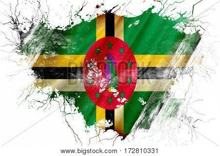 Grunge old Dominica  flag