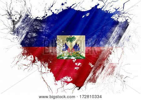 Grunge old Haiti  flag