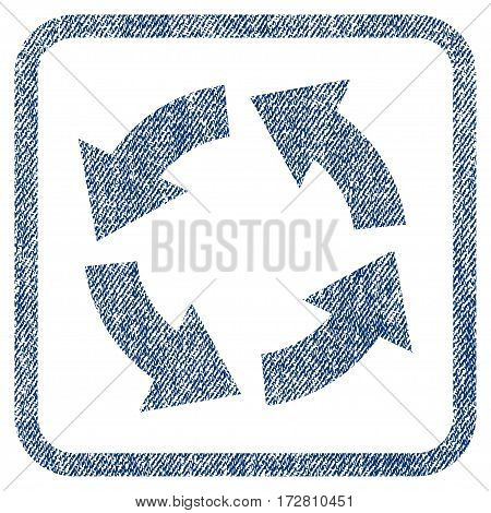 Circulation vector textured icon for overlay watermark stamps. Blue jeans fabric vectorized texture. Symbol with dirty design inside rounded rectangular frame.