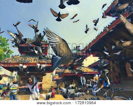 Pigeons fly over the old town square. Pigeons flock flying up from the ground. Romantic image of old town Kathmandu. Sunny day in Nepal capitol city center. Flying pigeons in sunny painting style