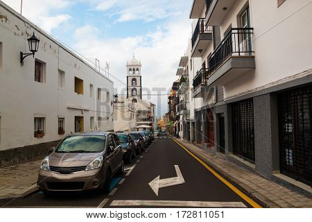 GARACHICO TENERIFE SPAIN - 11.02.2017: Street of Garachico Town on Tenerife Island Canary Spain