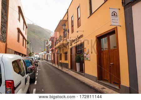 GARACHICO TENERIFE SPAIN - 11.02.2017: Street of Garachico Town on Tenerife Island Canary Spain