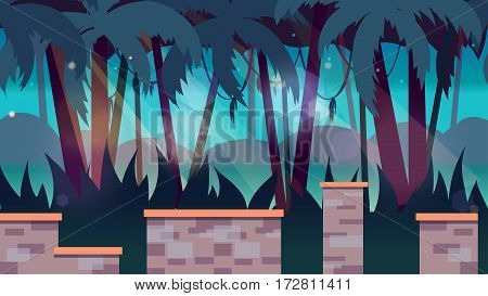 dark jungles game background 2d game application. design. Tileable horizontal.
