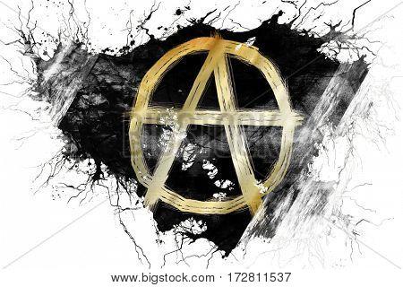 Grunge old Anarchy sign flag