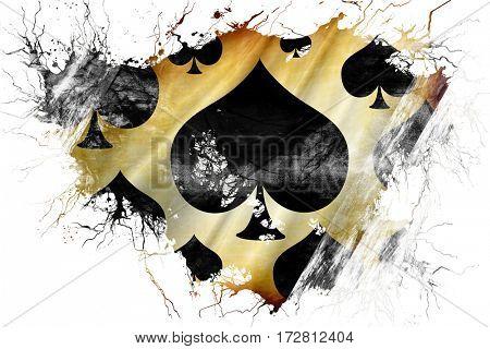 Grunge old Spade card background flag