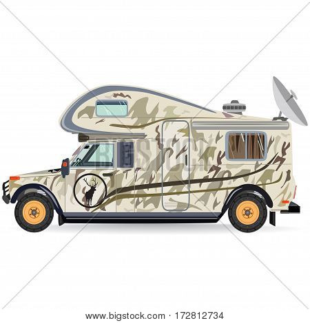 Vector illustration of camper car isolated on white background. Motor home for camping hunting flat style design.