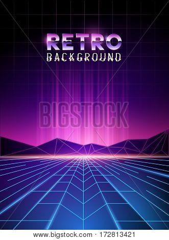 retro 80's neon digital landscape with light beams. Vector illustration