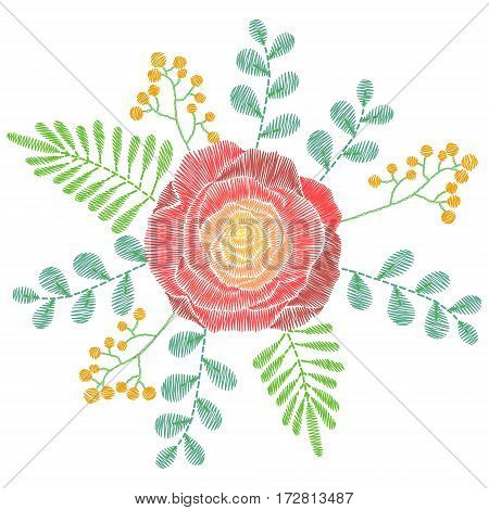 Embroidery stitches with spring flowers, wildflowers, rose, grass, branches. Vector fashion ornament for textile, fabric traditional folk floral decoration.