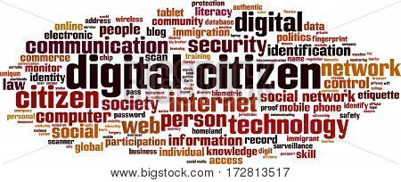 Digital citizen word cloud concept. Vector illustration