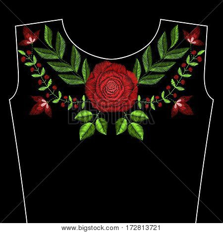 Embroidery stitches with red rose flowers for neckline. Vector fashion ornament on black background for textile, fabric traditional folk floral decoration.