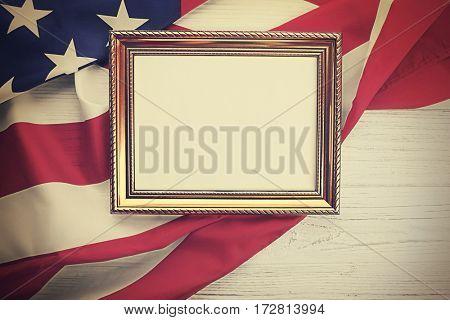 Photo frame on USA national flag background