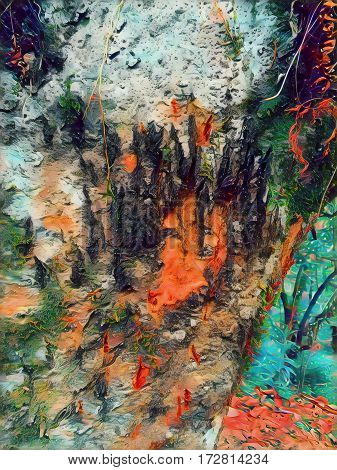 Tree closeup with bear claws mark. Wood texture digital illustration with wild animal marks. Forest life