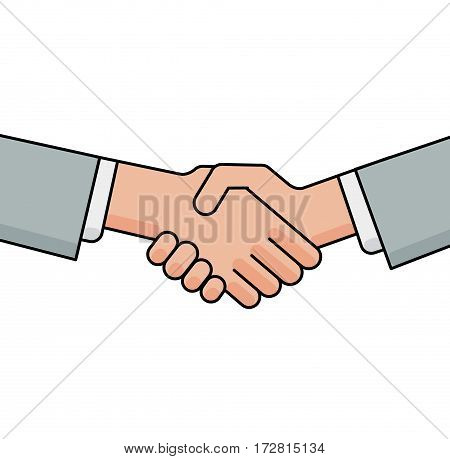 Business handshake, greeting and agreement sign on white background. Flat line vector illustration