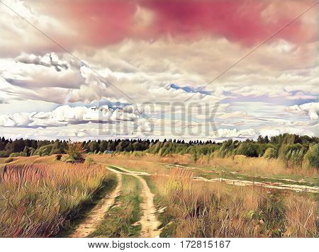 Rural field with dirt road during sunset. Autumn landscape in abstract pink palette. Wheat field with track. Wheels mark on agriculture land. Field and sky digital illustration. Seasonal background