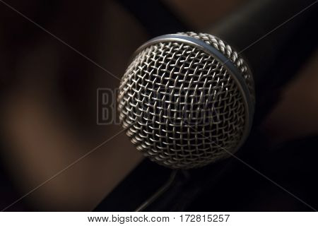 Classical microphone in karaoke is waiting on it's turn.