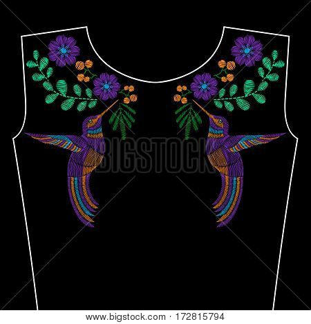 Embroidery stitches with hummingbird, wild spring flowers for neckline. Vector fashion ornament on black background for textile, fabric traditional folk decoration.