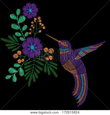 Embroidery stitches with hummingbird, wild flowers. Vector fashion ornament in pastel color for textile, fabric traditional folk decoration.