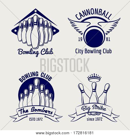 Bowling club logo design isolated on grey background. Vector illustration