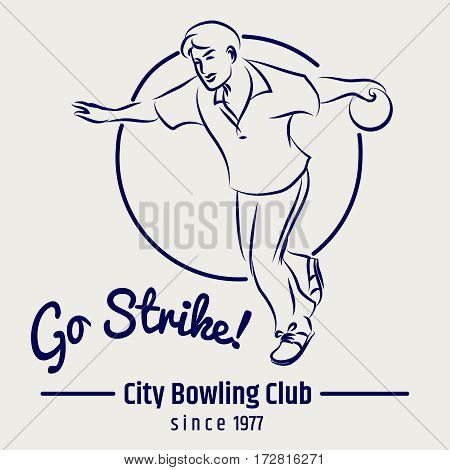 Bowling club poster with man bowling ball and lettering sign go strike on grey backdrop. Vector illustration