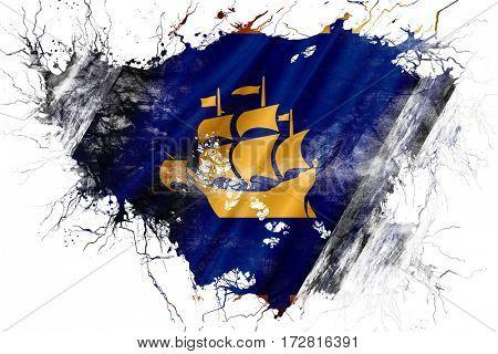 Grunge old Quebec city flag