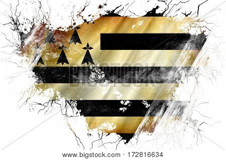 Grunge old brittany, bretagne flag