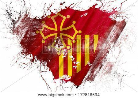 Grunge old Languedoc rousillon flag