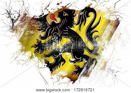 Grunge old flanders, vlaanderen flag