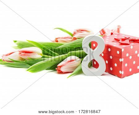 Bouquet Of Tulips Isolated On White Background With A Red Doted Gift Box As A Symbol Of The Holiday.