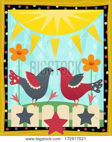 Country style red and blue doves standing on a white picket fence. Eps10