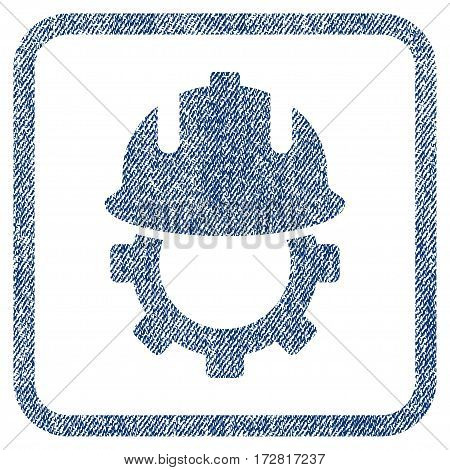 Development Helmet vector textured icon for overlay watermark stamps. Blue jeans fabric vectorized texture. Symbol with dust design inside rounded rectangle.