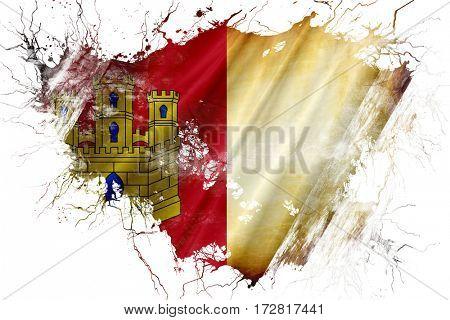 Grunge old Castilla la manche flag