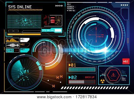 A futuristic HUD display user interface design with radar and tracking features. vector illustration.