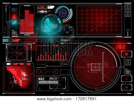 technical HUD diplay with futuristic digital interface elements. Vector illustration