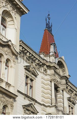 Beautiful tower on the roof in Zagreb