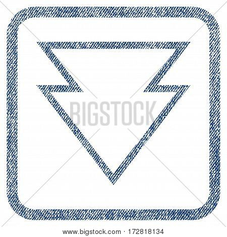 Direction Down vector textured icon for overlay watermark stamps. Blue jeans fabric vectorized texture. Symbol with scratched design inside rounded rectangle.