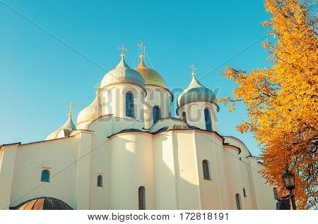Veliky Novgorod Russia - architecture view of Saint Sophia Cathedral domes in autumn sunny day in Veliky Novgorod, Russia