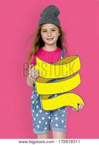 Little Girl Smiling Happiness Holding Banner Copy Space