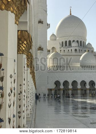 ABU DHABI, UAE-FEB 11, 2017: Sheikh Zayed Grand Mosque in Abu Dhabi, United Arab Emirates. It is the key place of worship in the UAE and may be visited by more than 40,000 people during Eid.